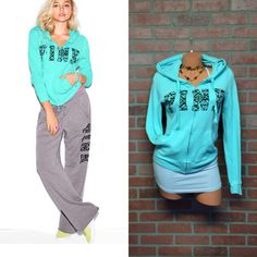 Limited edition Black Friday Boyfriend Hoodie New without tags, worn and washed 1X. teal Abstract lettering and Full Zip Hoodie In supersoft fleece Print graphics on front Drawstring hood Side pockets Imported cotton/polyester. PINK Victoria's Secret Tops Sweatshirts & Hoodies