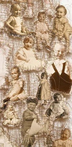 amazing art Lisa Kokin / Maternal Instinct (Detail), 2001 / Mixed media sewn found photo collage / 47 x 13 inches. Art Fibres Textiles, Textile Fiber Art, Textile Artists, Mixed Media Collage, Collage Art, Family Collage, A Level Textiles, Bordados E Cia, Mixed Media Photography