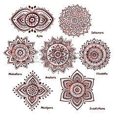 Isolated Set of beautiful ornamental 7 chakras  photo