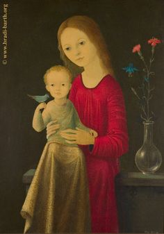 Beautiful image of Mary and Little Jesus, who is holding a small blue bird. Painted by a devout Belgian artist. Mama Mary, Mary I, Holy Mary, Pictures Of Mary, Images Of Mary, Blessed Mother Mary, Blessed Virgin Mary, Catholic Art, Religious Art