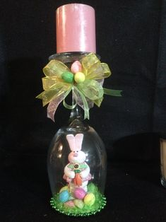 Easter Bunny candle holder, wineglass by ImaginedByDonna on Etsy diy candles Easter Bunny candle holder, wineglass Wine Glass Crafts, Bottle Crafts, Easter Projects, Easter Crafts, Spring Crafts, Holiday Crafts, Wine Glass Candle Holder, Candle Holders, Easter Table Decorations
