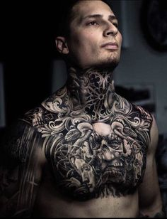 Lotus Flower Dragon Full Neck Tattoos - Best Neck Tattoos For Men: Cool Neck Tattoo Designs and Ideas - Badass Full, Front, Side, Back of Neck Tattoos For Guys Full Neck Tattoos, Full Chest Tattoos, Side Neck Tattoo, Neck Tattoo For Guys, Chest Piece Tattoos, Pieces Tattoo, Stomach Tattoos, Body Art Tattoos, Tattoos For Guys