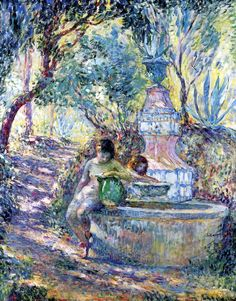 Saint-Tropez, Two Girls at the Fountain  Henri Lebasque