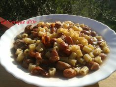 Soupe de ditalini aux haricots Borlotti et châtaignes Pasta Salad, Or, Oatmeal, Breakfast, Ethnic Recipes, Beans Recipes, Conch, Crab Pasta Salad, The Oatmeal