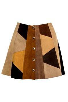 Vintage Patchwork Suede Skirt | PinkClouds | Vintage Fashion