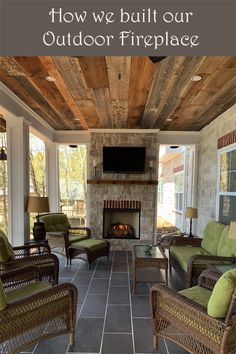 A few years ago, we built an outdoor fireplace on our patio porch overlooking the lake. We are not experts but have learned to do DIY projects. We love the rustic look of the stone. We love cozying up to our fireplace. Check out our how-to instructions. Outside Fireplace, Build A Fireplace, Porch Fireplace, Backyard Fireplace, Modern Outdoor Fireplace, Outdoor Fireplace Designs, Fireplace Ideas, Outdoor Stone Fireplaces, Simple Fireplace
