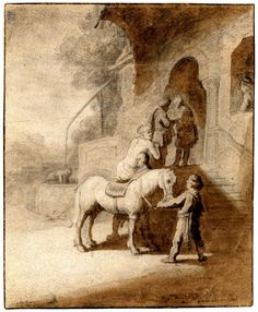 Dutch (After Rembrandt) - The Good Samaritan; Samaritan helping man off horse at steps of a large building, another man holds horse's bridle, two men converse in doorway, figure in window above, woman drawing water from well in background to l. 1632? Black chalk with brown wash, guiding pinholes at points in image, on brown paper, with brown wash line around edge