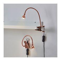 JANSJÖ LED wall/clamp spotlight, copper color copper color -
