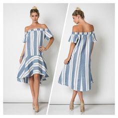 MIDI Off the shoulder Dress Description: OFF SHOULDER STRIPE FLARE MIDI DRESS **PRE-ORDER ONLY: AVAILABLE 5/31/16. Fabric: COTTON/LINEN.. Content: 60%COTTON 40 Dresses Midi
