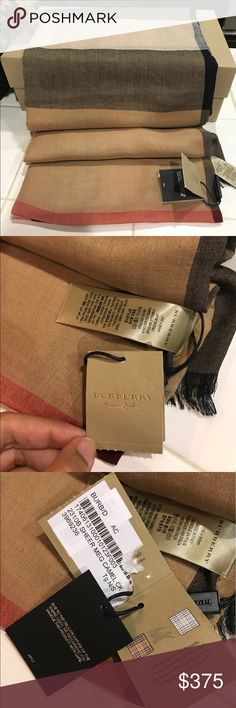 "Bnwt Burberry sheer mega camel scarf check Brit NO OFFERS PLEASE!                                                 100% AUTH BNWT BURBERRY SHEER MEGA CAMEL SCARF CHECK BRIT    - DIMENSIONS: Please see item specifics for dimension  - INCLUDES: Burberry scarf with tag only. No other Inclusions please do not ask.    A sheer scarf becomes instantly iconic with Burberry's signature checks and soft eyelash fringe. 35 1/2"" x 76"". 80% modal, 10% cashmere, 10% mulberry silk. Dry clean. Burberry…"