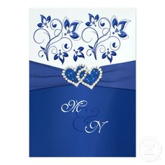Royal Blue and White Joined Hearts Invitation ... Wedding ideas for brides & bridesmaids, grooms & groomsmen, parents & planners ... https://itunes.apple.com/us/app/the-gold-wedding-planner/id498112599?ls=1=8 … plus how to organise an entire wedding, without overspending ♥ The Gold Wedding Planner iPhone App ♥