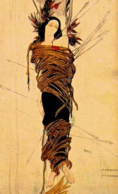 Léon Bakst - Costume design for dancer Ida Rubinstein in the leading male role in Gabriele D'Annunzio's Le Marthyre de Saint Sébastien. 1912