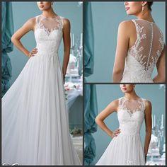 Encuentra el mejor 2016 atractivos de la boda vestidos de boda del tamaño vestidos de encaje apliques una línea de cuello redondo vestido de novia de largo más personali..