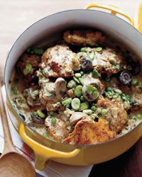 Beer-Braised Chicken Stew with Fava Beans and Peas - Gastropub Recipes from Food & Wine
