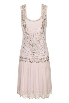 PALE PINK SEQUIN CHARLESTON FLAPPER uk 8 10 12 14 16 GATSBY dress 20's ART DECO  #frockandfrill #20s #Cocktail