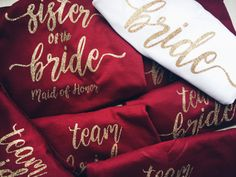Scarlet Red Tank or Tee | Maroon Bridesmaid T Shirt | Maroon Bride Tribe Tank LittleBrownnSuitcase.com