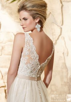 2780 Bridal Gowns / Dresses Alencon Lace and Embroidered Appliques Over Chantilly Lace with Delicate Beading and Soft Net Skirt