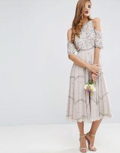 ASOS WEDDING Embellished Floral Cold Shoulder Midi Dress at Asos #affliatelink