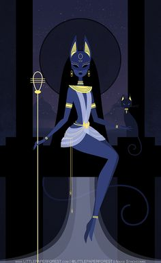 Bastet by Nikkie Stinchcombe / Little Paper Forest. Bast or Bastet, the famous 'cat goddess' of ancient Egypt. Depicted as a lion headed or cat headed woman often carrying an ankh or papyrus wand. She is associated with the all seeing eye (th Art And Illustration, Fantasy Kunst, Fantasy Art, Bd Art, Goddess Art, Bastet Goddess, Egyptian Goddess Tattoo, Egyptian Art, Egyptian Mythology