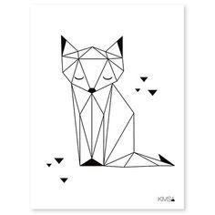 Cette affiche renard avec une illustration aux lignes géométriques façon origami et au design épuré noir et blanc donne à la chambre bébé un style très chic
