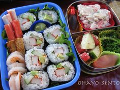 I have 3 different salads in this bento: seaweed, crab, and vegee. The vegee salad has tomatoes, cucumber, and feta cheese all packed in the Lunchbots Pico with soy sauce fishes and pickled ginger.    The larger bento has sushi made with crab, cucumber, carrot, and avocado. On the side to fill the gap I added crab sticks, pan seared tofu, and shrimp. See the little cup of wasabi? I found a whole package of itty bitty silicon cups! They are about the size of my thumb and so cute!