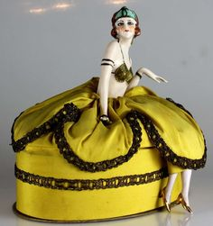 German Half Doll Pin Cushion Candy Container
