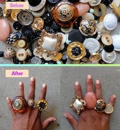 """Cute as a Button    Turn fancy buttons into chic statement rings. """"First, use pliers to remove the shank (the little hook) from the back of your button. Then apply a small amount of a strong-hold glue to the back of the button and place it on a ring with a base, which you can find at a jewelry supply store. Allow a few minutes to dry and then pick a finger—or five!"""