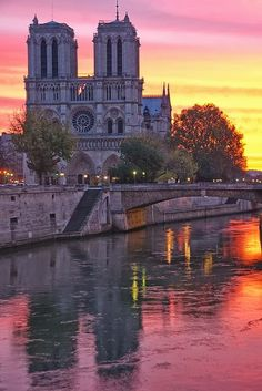 Notre Dame - Paris, France. Awesome sunset view.