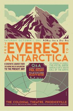 Everest to Antarctica by Tom Whalen. Not actually a travel poster per say, but still pretty awesome.
