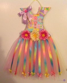 123 Dream it Baby Girl Party Dresses, Little Girl Dresses, Girls Dresses, Diy Ribbon, Ribbon Crafts, Kids Frocks, Fairy Dress, Diy Hair Accessories, Valentines Diy