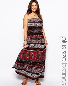 New Look Inspire Ethnic Printed Bandeau Maxi Dress