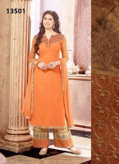 Orange Palazzo Style Georgette Long Salwar Kameez #salwarsuits  #salwarkameez, #churidarsuits, #straightssalwarsuits, #partywearsalwarsuits, #designersalwarsutis, #onlinesalwarsuits, #longsalwarsuits,