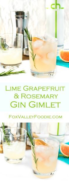 Lime Grapefruit and Rosemary Gin Gimlet - Fox Valley Foodie : Lime Grapefruit and Rosemary Gin Gimlet Recipe The earthy flavor of rosemary balances against the bright punches of fresh citrus juice in this Lime Grapefruit and Rosemary Gin Gimlet. Gin Fizz, Grapefruit Gin Cocktail, Grapefruit Juice, Rosemary Cocktail, Fancy Drinks, Summer Drinks, Cocktail Drinks, Gourmet, Recipes