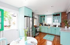 Kitchen Bungalow Kitchen Remodel Ideas Cabinet With Turquoise Touch Mixed With Hard Wood On Floor Provocative Small U Shaped Kitchen Design Inspiration