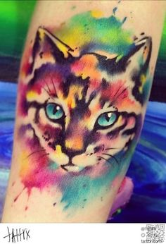 26. #Colorful Cat - 28 Animal #Tattoos You've Got to See to Believe ... → #Lifestyle #Watercolor