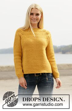 Crocheted jumper with raglan in DROPS Lima. Sizes S - XXXL. Pull Crochet, Crochet Jumper, Hand Crochet, Free Crochet, Knit Crochet, Knit Cowl, Baby Knitting Patterns, Lace Knitting, Finger Knitting