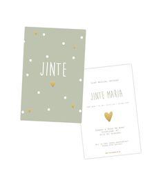 geboortekaartje, birth announcement, geboren, kaartje, huisvanmijn, webshop, zelf kaartje maken, meisje, hartjes, goud, bloemen.