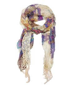 East Cloud Purple Paisley Crochet Fringe Scarf | zulily