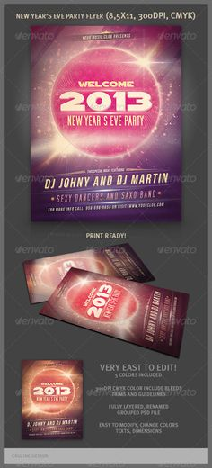 New Year Party Flyer  #GraphicRiver         Creative style and unique flyer, poster, invitation design for your next party or project. Great for new year's eve party. The final package you download includes a fully layered, renamed, grouped PSD file.   Size: 8.5×11 Resolution: 300dpi, CMYC , Include bleeds, trims and guidelines Print Ready! Easy to modify, change colors, texts, dimensions   Fonts: SF Movie Poster –  .dafont /sf-movie-poster.font, Bebas Neue –  .dafont /bebas-neue.font…