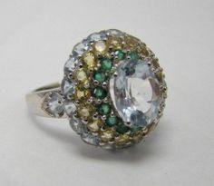 925 Sterling Silver Cluster Ring Genuine Aquamarine Emerald Yellow Beryl Sz 6 5 | eBay