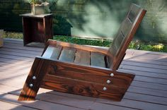 modern/vintage reclaimed wood deck chair by betogonzwood on Etsy, $275.00