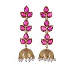 Traditional Gold Plated Silver Jhumki Earrings with semi precious stones -Pink Onyx,Cubic Zirconia and Pearl with colour combination of Pink,Peach and White.