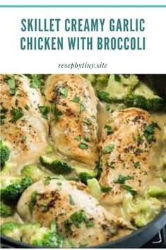 SKILLET CREAMY GARLIC CHICKEN WITH BROCCOLI - Resep By Tiny