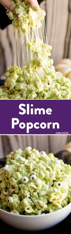 Marshmallow Slime Popcorn | Ashlee Marie | Fall | Halloween | Party Treats | #halloweentreats #halloweenparty