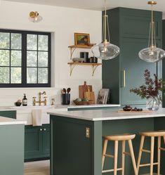 Sage Green Kitchen, Green Kitchen Cabinets, Kitchen Cabinets Designs, Green Kitchen Island, Green Kitchen Walls, Kitchen Cabinet Colors, Dark Cabinet Kitchen, Different Color Kitchen Cabinets, Earthy Kitchen