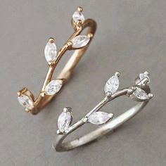 Sparkling Crystal set Olive branch leaf ring