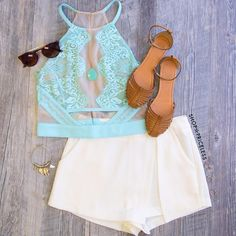 Want You 2 Know Lace Crop Top Cute Summer Outfits, Spring Outfits, Casual Outfits, Cute Outfits, Teen Fashion, Runway Fashion, Fashion Outfits, Womens Fashion, Crop Top And Shorts