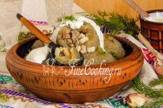 Клецки со свининой и грибами