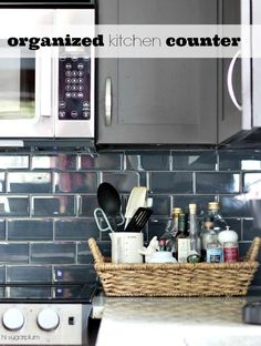 Organize the clutter next to your Kitchen Stovetop (utensils/daily essentials)