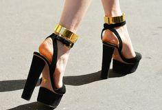 Black Platform Sandal - Cross back wrap around ankle strap w/ gold ankle cuff!